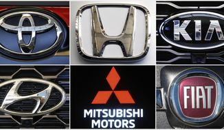 This undated combination of photos shows clockwise from top left the logos for Toyota, Honda, Kia, Fiat Chrysler, Mitsubishi and Hyundai. U.S. auto safety regulators have expanded an investigation into malfunctioning air bag controls to include 12.3 million vehicles because the bags may not inflate in a crash. Vehicles made by Toyota, Honda, Kia, Hyundai, Mitsubishi and Fiat Chrysler from the 2010 through 2019 model years are included in the probe, which was revealed Tuesday, April 23, 2019, in documents posted by the National Highway Traffic Safety Administration. (AP Photos)