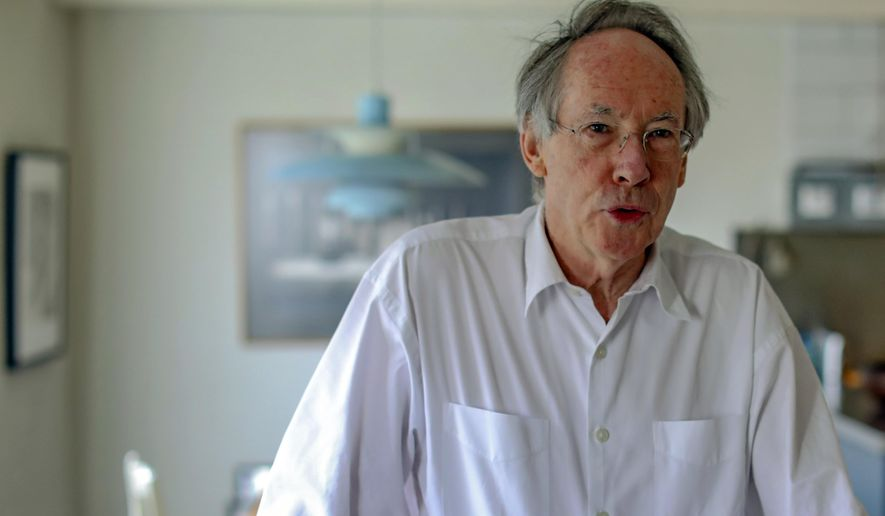 """In this photo taken on Thursday, April 18, 2019, Booker Prize award winning English novelist and screenwriter Ian Russell McEwan talks to Associated Press about his new novel """"Machines Like Me"""" in London. McEwan is fascinated by artificial intelligence. A central character in his new novel is a lifelike android with access to all human knowledge who writes haiku poetry. The book, published in the United States Tuesday, April 23 by Doubleday, looks at the messy relationship between human minds and artificial ones. (AP Photo/Vudi Xhymshiti)"""