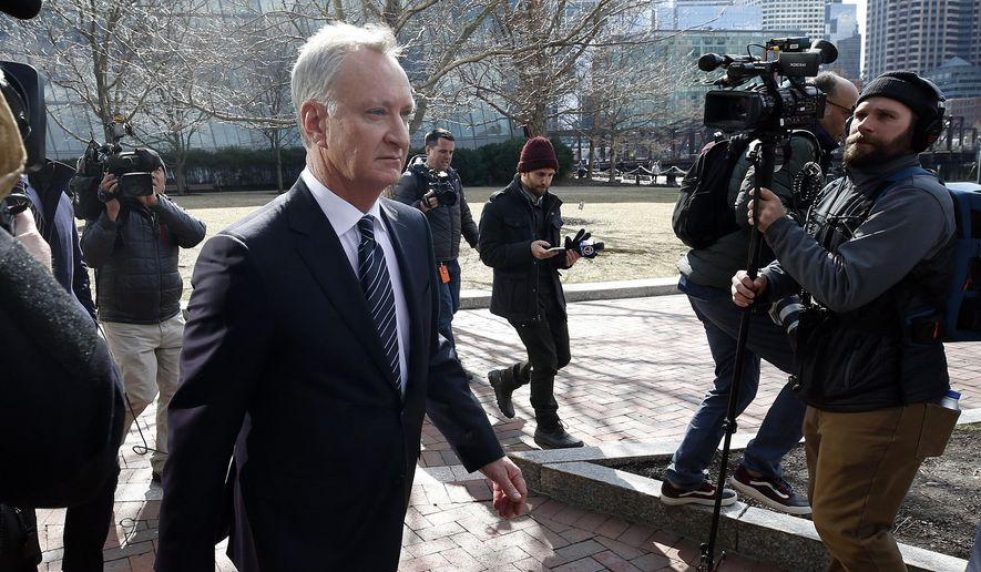 In this April 3, 2019 file photo, TobyMacFarlane departs federal court in Boston after facing charges in a nationwide college admissions bribery scandal. Authorities said Tuesday, April 23, that MacFarlane, a former senior executive at a title insurance company, will plead guilty to racketeering conspiracy and cooperate with federal authorities in the case. (AP Photos/Michael Dwyer, File) **FILE**