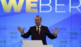 European People's Party candidate Manfred Weber delivers a speech at Zappio Congress Hall in Athens on Tuesday, April 23, 2019. Weber is in Greece for the official launch of his campaign for the May 23-26 European Parliament elections. (AP Photo/Thanassis Stavrakis)