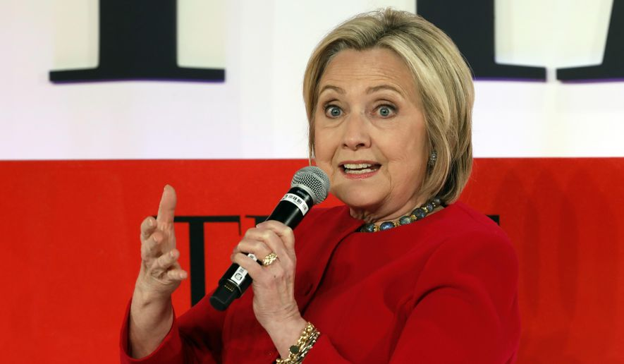 Hillary Clinton speaks during the TIME 100 Summit in New York on April 23, 2019. (AP Photo/Richard Drew) **FILE**