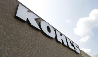 FILE - In this Aug. 28, 2018, fie photo, a Kohl's sign is shown in front of a Kohl's store in Concord, N.C. Kohl's wants you to skip the post office and bring your Amazon returns to its stores. The department store chain says it will accept Amazon returns at all its 1,150 stores starting in July. (AP Photo/Chuck Burton, File)