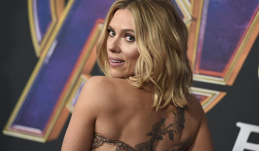 "Scarlett Johansson arrive at the premiere of ""Avengers: Endgame"" at the Los Angeles Convention Center on Monday, April 22, 2019. (Photo by Jordan Strauss/Invision/AP)"