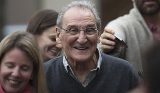 """FILE - In this Nov. 12, 2015 file photo, Vincent Asaro leaves Brooklyn federal court in New York after beating charges that he helped plan the legendary 1978 Lufthansa heist retold in the hit film """"Goodfellas."""" On Tuesday, April 23, 2019, an appeals court says a judge properly considered a legendary airport robbery recounted in the movie """"Goodfellas"""" when Asaro got eight years in prison for an unrelated road rage arson. (AP Photo/Bryan R. Smith, File)"""