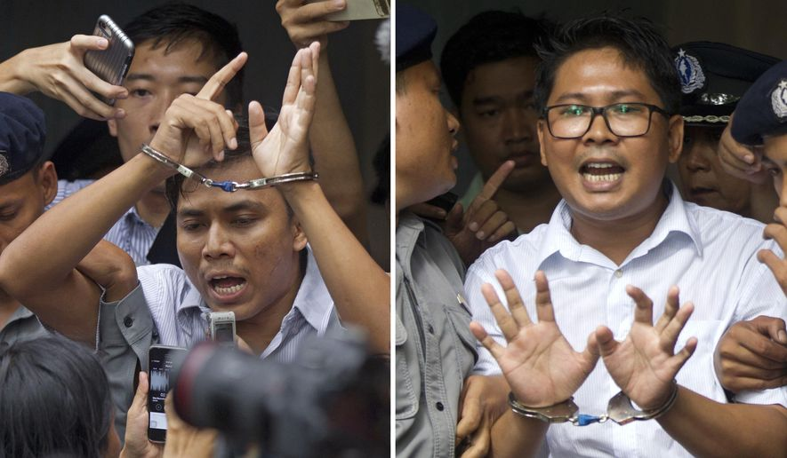 In this Sept. 3, 2018, combination file photo, Reuters journalists Kyaw Soe Oo, left, and Wa Lone, are handcuffed as they are escorted by police out of a court in Yangon, Myanmar. Myanmar's Supreme Court on Tuesday, April 23, 2019, rejected the final appeal of the two Reuters journalists and upheld seven-year prison sentences for their reporting on the military's brutal crackdown on Rohingya Muslims. They earlier this month shared with their colleagues the Pulitzer Prize for international reporting, one of journalism's highest honors. (AP Photo/Thein Zaw, File)