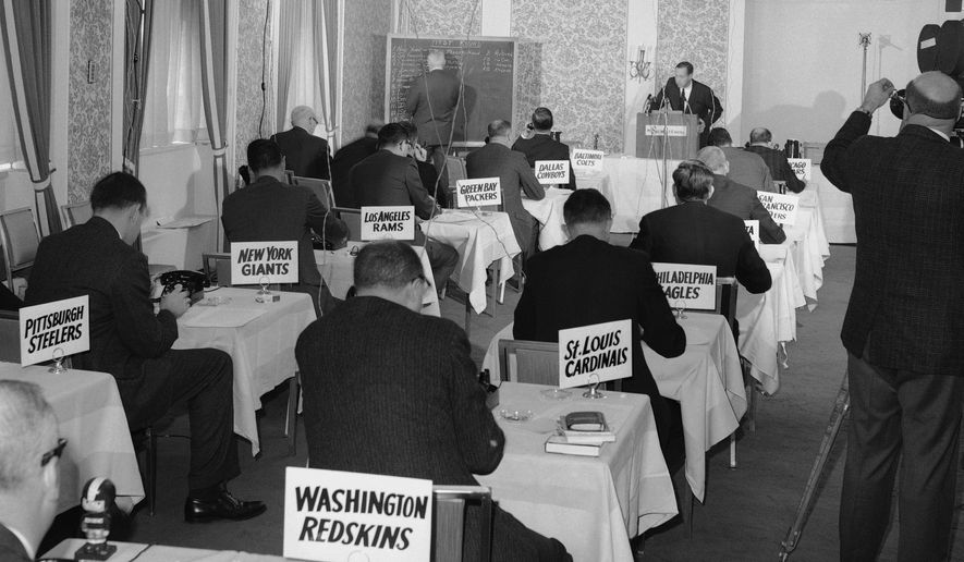 This Nov. 26, 1964, file photo shows a general view of the National Football League draft meeting in New York.  (AP Photo/John Lindsay) **FILE**