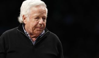 FILE - In this April 10, 2019, file photo, New England Patriots owner Robert Kraft leaves his seat during an NBA basketball game between the Brooklyn Nets and the Miami Heat, in New York. Attorneys for two Florida massage parlor employees plan to ask a judge to hold police and prosecutors responsible for the possible unauthorized release of video that they say shows New England Patriots owner Robert Kraft paying for sex. (AP Photo/Kathy Willens, File)