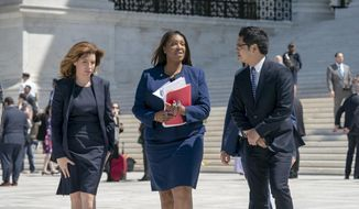 From left, New York City Census Director Julie Menin, New York State Attorney General Letitia James, and Dale Ho, an attorney for the American Civil Liberties Union, leaves after the Supreme Court heard arguments over the Trump administration's plan to ask about citizenship on the 2020 census, in Washington, Tuesday, April 23, 2019. Critics say adding the question would discourage many immigrants from being counted, leading to an inaccurate count. (AP Photo/J. Scott Applewhite)