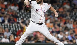 Houston Astros starting pitcher Wade Miley delivers during the first inning of a baseball game against the Minnesota Twins, Tuesday, April 23, 2019, in Houston. (AP Photo/Eric Christian Smith)