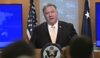 Secretary of State Mike Pompeo speaks during a news conference on Monday, April 22, 2019, at the Department of State in Washington. (AP Photo/Sait Serkan Gurbuz) **FILE**