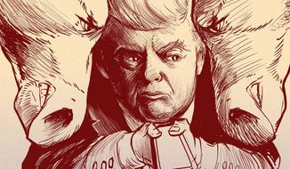 Illustration on Trump's enemies by Paul Tong/Tribune Content Agency