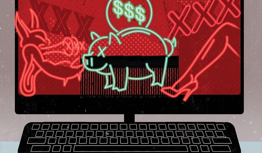 Illustration on hiding a tax bill in anti-porn legislation by Linas Garsys/The Washington Times