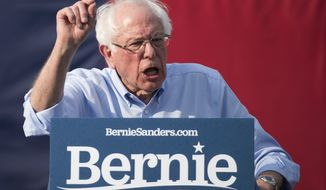 Democratic presidential candidate Sen. Bernie Sanders, I-Vt., speaks during a rally at Discovery Green on Wednesday, April 24, 2019, in Houston. (Brett Coomer/Houston Chronicle via AP)