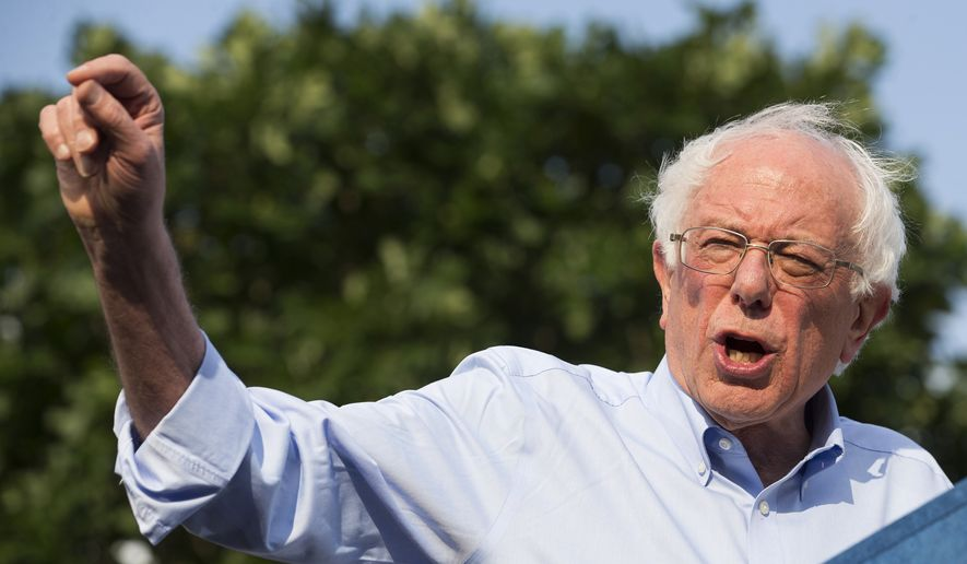 Democratic presidential candidate Sen. Bernie Sanders, I-Vt., Bernie Sanders speaks during a rally at Discovery Green on Wednesday, April 24, 2019, in Houston. (Brett Coomer/Houston Chronicle via AP) ** FILE **