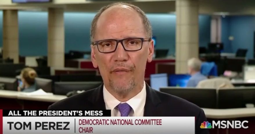 Democratic National Committee Chairman Tom Perez discusses the 2020 U.S. presidential election, April 23, 2019. (Image: MSNBC screenshot)