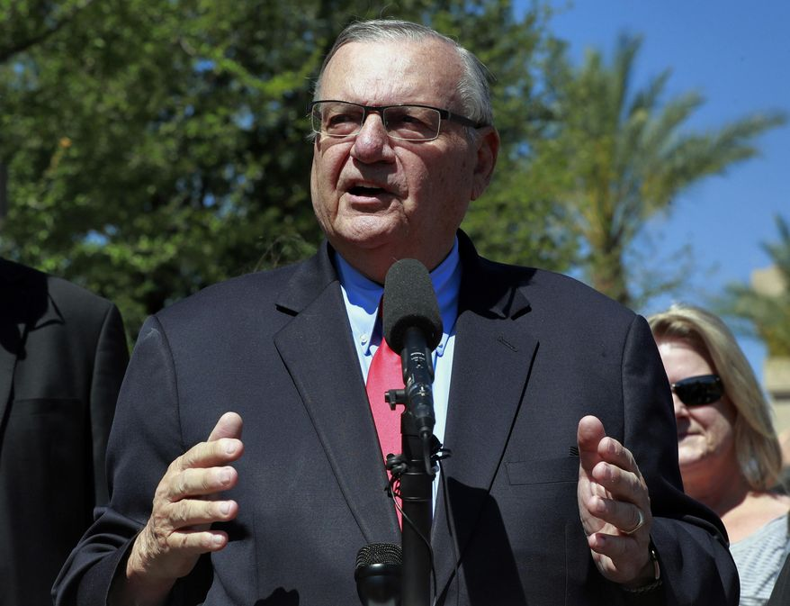 FILE - In this May 22, 2018 file photo, former Maricopa County Sheriff Joe Arpaio speaks during a campaign event in Phoenix. A special prosecutor appointed to defend a ruling that refused to erase Arpaio's criminal record says the lawman gave up his right to appeal his contempt of court conviction when he accepted a pardon from President Donald Trump. (AP Photo/Matt York, File)