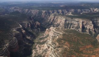 FILE - This May 8, 2017, file photo, shows Arch Canyon within Bears Ears National Monument in Utah. The selections for the 15-person Bears Ears National Monument panel posted online Friday, April 19, 2019 by the U.S. Bureau of Land Management reveal a few people who seem to strike a middle ground, but nobody who was an outspoken proponent of the monument created by President Barack Obama in December 2016.  (Francisco Kjolseth/The Salt Lake Tribune via AP, File)
