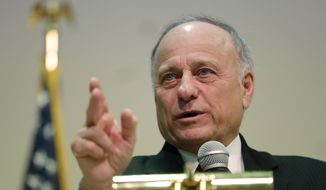 In this Jan. 26, 2019, file photo, Rep. Steve King, R-Iowa, speaks during a town hall meeting, in Primghar, Iowa. (AP Photo/Charlie Neibergall File)