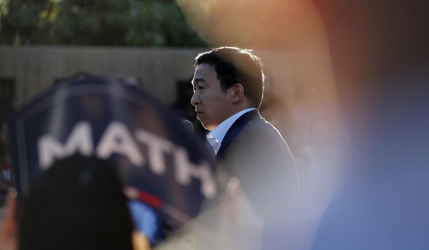Democratic presidential candidate and entrepreneur Andrew Yang speaks at a campaign event Tuesday, April 23, 2019, in Las Vegas. (AP Photo/John Locher)