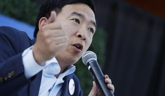 Presidential candidate and entrepreneur Andrew Yang speaks at a campaign event Tuesday, April 23, 2019, in Las Vegas. (AP Photo/John Locher)