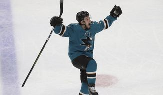 San Jose Sharks right wing Kevin Labanc (62) celebrates after scoring a goal against the Vegas Golden Knights during the third period of Game 7 of an NHL hockey first-round playoff series in San Jose, Calif., Tuesday, April 23, 2019. (AP Photo/Jeff Chiu)