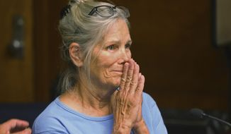 FILE - In this Sept. 6, 2017 file photo Leslie Van Houten reacts after hearing she is eligible for parole during a hearing at the California Institution for Women in Corona, Calif. Charles Manson follower Van Houten is getting another chance at getting out of prison. Van Houten's attorney will argue that she deserves to be paroled at a hearing before California's 2nd District Court of Appeal in Los Angeles on Wednesday, April 24, 2019. The 69-year-old Van Houten is not expected in court herself. (Stan Lim/Los Angeles Daily News via AP, Pool, File)