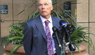 Rich Pfeiffer, attorney for Leslie Van Houten, speaks to reporters after a hearing before California's 2nd District Court of Appeal, which is considering whether to overturn a judge's ruling denying her parole last year, in downtown Los Angeles Wednesday, April 24, 2019. The court is questioning whether it has the jurisdiction to decide whether Charles Manson follower Leslie Van Houten should be freed from prison, or whether the issue becomes moot after Gov. Gavin Newsom weighs in.  (AP Photo/Amanda Lee Myers)