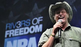 In this May 1, 2011, photo, musician and gun rights activist Ted Nugent addresses a seminar at the National Rifle Association's 140th convention in Pittsburgh. (AP Photo/Gene J. Puskar)