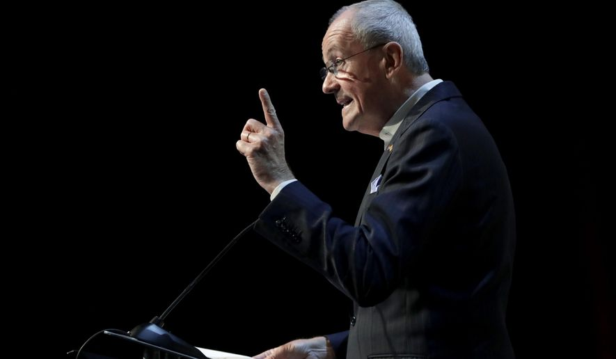 New Jersey Gov. Phil Murphy addresses an audience at the Betting On Sports America conference, Wednesday, April 24, 2019, in Secaucus, N.J.   Murphy predicted New Jersey's fast growing sports betting market could surpass that of Nevada by next year. (AP Photo/Julio Cortez)