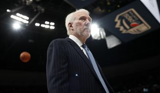 San Antonio Spurs head coach Gregg Popovich prepares for Game 5 of an NBA basketball first round playoff series against the Denver Nuggets, Tuesday, April 23, 2019, in Denver. (AP Photo/David Zalubowski) **FILE**