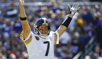 In this Oct. 1, 2017, file photo, Pittsburgh Steelers quarterback Ben Roethlisberger (7) celebrates a touchdown by running back Le'Veon Bell during the first half of an NFL football game against the Baltimore Ravens in Baltimore. The Pittsburgh Steelers have reiterated repeatedly during an eventful offseason that quarterback Ben Roethlisberger remains the team's unquestioned leader. They've handed him a new deal to prove it. The Steelers and the two-time Super Bowl winner agreed to terms on a contract extension Wednesday, April 24, 2019,  that will keep Roethlisberger in Pittsburgh through the 2021 season. (AP Photo/Patrick Semansky, File) **FILE**