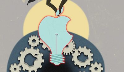 Illustration on the Apple/Qualcomm settlement by Linas Garsys/The Washington Times