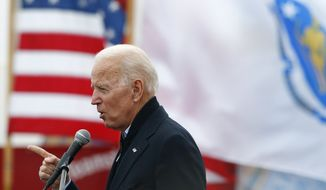 In this April 18, 2019, file photo, former vice president Joe Biden speaks at a rally in support of striking Stop & Shop workers in Boston. (AP Photo/Michael Dwyer, File)