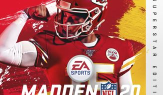 This image provided by EA Sports shows the cover of the Madden 20 video game, featuring Kansas City Chiefs quarterback Patrick Mahomes, which will be released in August. (Photo courtesy of EA Sports via AP)