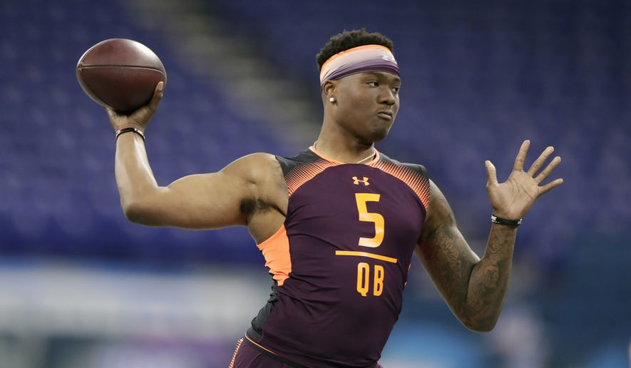 FILE - In this March 2, 2019, file photo, Ohio State quarterback Dwayne Haskins runs a drill at the NFL football scouting combine, in Indianapolis. Haskins is a possible pick in the 2019 NFL Draft. (AP Photo/Michael Conroy, File)