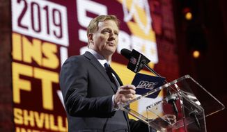 NFL Commissioner Roger Goodell announces that Mississippi State defensive end Montez Sweat has been selected by the Washington Redskins in the first round at the NFL football draft, Thursday, April 25, 2019, in Nashville, Tenn. (AP Photo/Mark Humphrey)