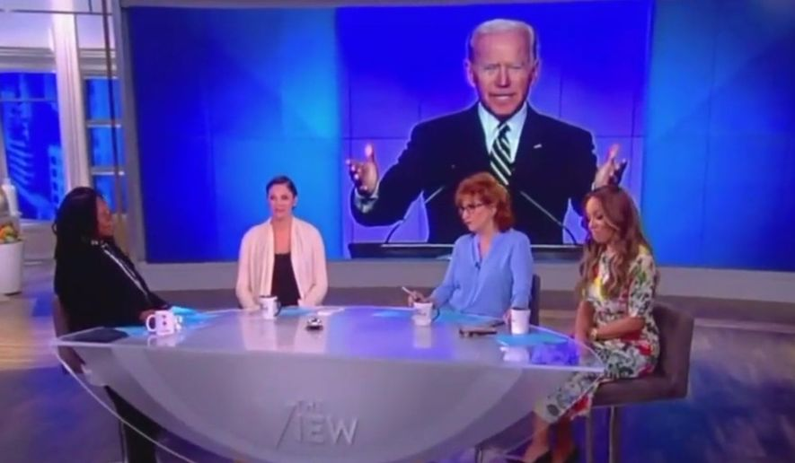"The ladies of ABC's ""The View"" discuss former Vice President Joe Biden's entry into the 2020 U.S. presidential race, April 25, 2019. (Image: ABC, ""The View"" screenshot)"