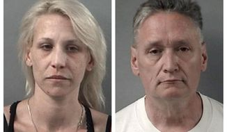 "This combination April 24, 2019 booking photos provided by the Crystal Lake, Ill., Police Department shows JoAnn Cunningham and her husband, Andrew Freund Sr. On Wednesday, authorities dug up the body of a 5-year-old boy, believed to be Andrew ""AJ"" Freund, who was reported missing the previous week and charged his parents with murder and other counts. (Crystal Lake Police Department via AP)"