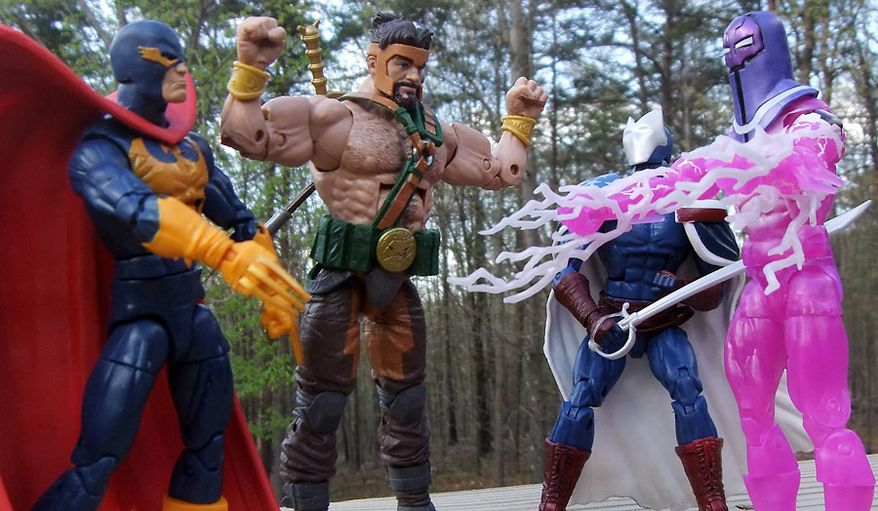 Hercules shows of his muscles to Nighthawk, Citizen V and Living Laser in Hasbro's Marvel Legends: Avengers Endgame action figure collection. (Photograph by Joseph Szadkowski / The Washington Times)