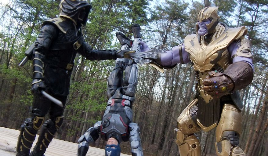 Ronin talks to Thanos about the state of Captain America in Hasbro's Marvel Legends: Avengers Endgame action figure collection. (Photograph by Joseph Szadkowski / The Washington Times)