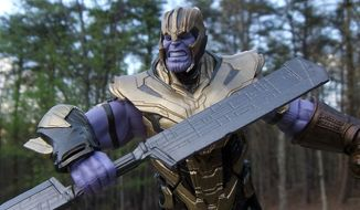 Hasbro's Marvel Legends: Avengers Endgame collection features an armored Thanos Build-A-Figure. (Photograph by Joseph Szadkowski / The Washington Times)