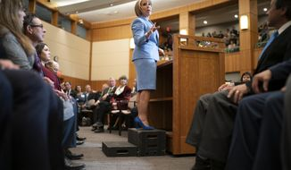 FILE - New Mexico Gov. Michelle Lujan Grisham gives her State of the State address during the opening of the New Mexico legislative session at the state Capitol in Santa Fe, N.M. on Tuesday, Jan. 15, 2019. Lujan Grisham on Thursday, April 25, 2019, announced her new appointments to the state racing commission, a regulatory panel that will decide whether to award the state's sixth and final license for a horse racetrack and casino. (AP Photo/Craig Fritz)
