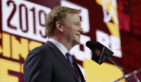 NFL Commissioner Roger Goodell announces that the Washington Redskins selected Ohio State quarterback Dwayne Haskins during the first round at the NFL football draft, Thursday, April 25, 2019, in Nashville, Tenn. (AP Photo/Mark Humphrey)  **FILE**
