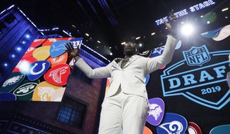Former Dallas Cowboys player Michael Irvin speaks to the crowd ahead of the first round at the NFL football draft, Thursday, April 25, 2019, in Nashville, Tenn. (AP Photo/Mark Humphrey)