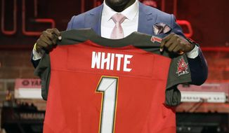 Louisiana State linebacker Devin White poses with his new jersey after the Tampa Bay Buccaneers selected White in the first round at the NFL football draft, Thursday, April 25, 2019, in Nashville, Tenn.(AP Photo/Steve Helber)