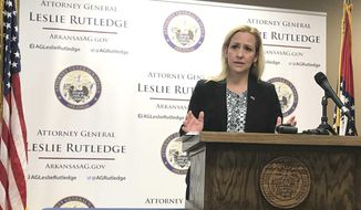 Arkansas Attorney General Leslie Rutledge speaks at a news conference in Little Rock, Arkansas Thursday, April 25, 2019, about a lawsuit she filed in state court against three opioid distributors. Arkansas is suing three drug distributors, Cardinal Health, McKesson Corporation and AmerisourceBergen, for their alleged role in the opioid crisis, claiming the companies failed to monitor and report suspicious shipments of opioids into the state. (AP Photo/Andrew DeMillo)