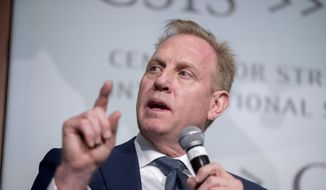 In this March 20, 2019, file photo, acting Defense Secretary Patrick Shanahan speaks at the Center for Strategic and International Studies in Washington. A U.S. official says the Pentagon's watchdog agency has cleared Shanahan of wrongdoing in connection with allegations that he had used his official position to favor his former employer, Boeing Co. (AP Photo/Andrew Harnik)