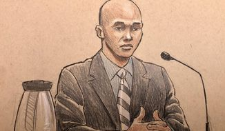 "This courtroom sketch depicts former Minneapolis police officer Mohamed Noor, on the witness stand Thursday, April 25, 2019, in Minneapolis, Minn., during his trial in the fatally shooting of an unarmed Australian woman, Justine Ruszczyk Damond, in July 2017 after she called 911 to report a possible sexual assault behind her home. Noor testified Thursday about his training for possible ambushes, saying he learned that reacting too late ""means ... you die."" (Cedric Hohnstadt via AP)"