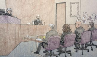 This courtroom sketch depicts former Minneapolis police officer Mohamed Noor, center, on the witness stand Thursday, April 25, 2019, in Minneapolis during his trial in the fatal shooting of an unarmed Australian woman, Justine Ruszczyk Damond, in July 2017 after she called 911 to report a possible sexual assault behind her home. Listening to Noor's testimony are from top left, Hennepin County District Judge Kathryn Quaintance, prosecutors Patrick Lofton, and Amy Sweasy, defense attorneys Thomas Plunkett and Peter Wold. (Cedric Hohnstadt via AP)