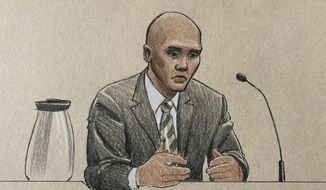 "This courtroom sketch depicts former Minneapolis police officer Mohamed Noor on the witness stand Thursday, April 25, 2019, in Minneapolis during his trial in the fatally shooting of an unarmed Australian woman, Justine Ruszczyk Damond, in July 2017 after she called 911 to report a possible sexual assault behind her home. Noor testified Thursday that he saw fear in his partner's eyes, then saw a woman in a pink shirt with blond hair appear at the partner's window and raise her right arm before he fired his gun ""to stop the threat."" (Cedric Hohnstadt via AP)"